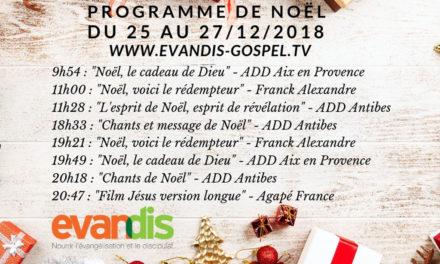 Programme de Noël sur evandis-gospel.tv